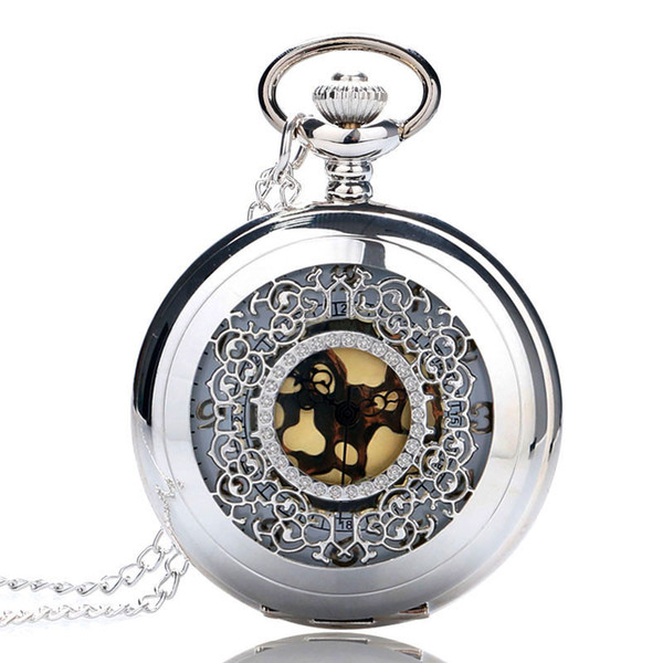 New Silver Hollow Fob Men Women Quarzt Pocket Watch with Necklace Chain for Male Female Best Gifts Free Drop Shipping