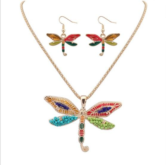 Colorful Beaded Enamel Dragonfly Dolphin Starfish Pendant Dangle Necklace Hook Earrings Sets Wholesale fit Garment Suit for Female Lady Girl