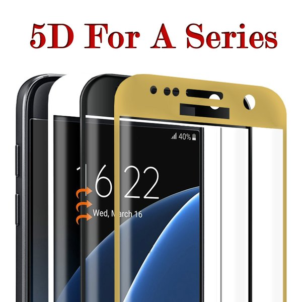 DHL Shipping Hot Sale 5D Curved edge Full Cover Screen Protector Tempered Glass For Samsung Galaxy A3 A5 A7 2017 Protective Glass Film