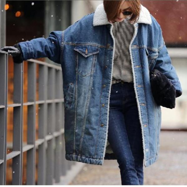 Новые женщины толстые зимняя куртка длинный барашек шерсть джинсовая пальто плюс бархат пальто