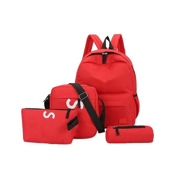 Neue Vierteilige Designer Rucksack Branded Letters Atmungsaktive Leinwand Outdoor Taschen Mehrzweck Rucksäcke Für Student Umhängetasche