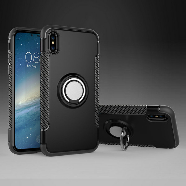 Vehicle Armor Case For iPhone X 8 8 Plus 7 6 6S 5 5S SE With Ring Stand Shockproof Shell Hard PC + Soft TPU Mobile Phone Back Cover
