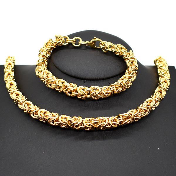 AMUMIU 7MM Chain Link Necklace Bracelet Jewelry Set Round Circle chain Silver Gold Color Men Women Hot Sale Wholesale HTZ172