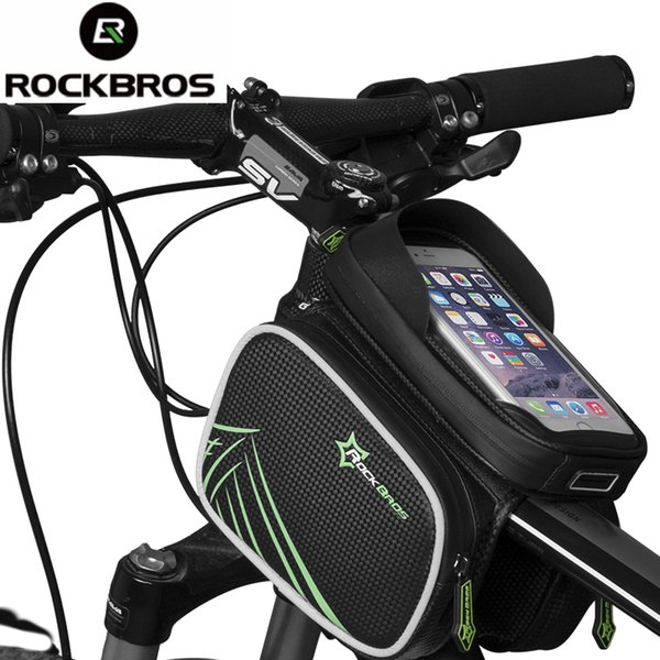 ROCKBROS Bicycle Bag Rainproof Bike MTB Front Head Bag Top Tube Double Pouch Cycling Pannier 5.8 6.2 Inch Touch Screen Accessory