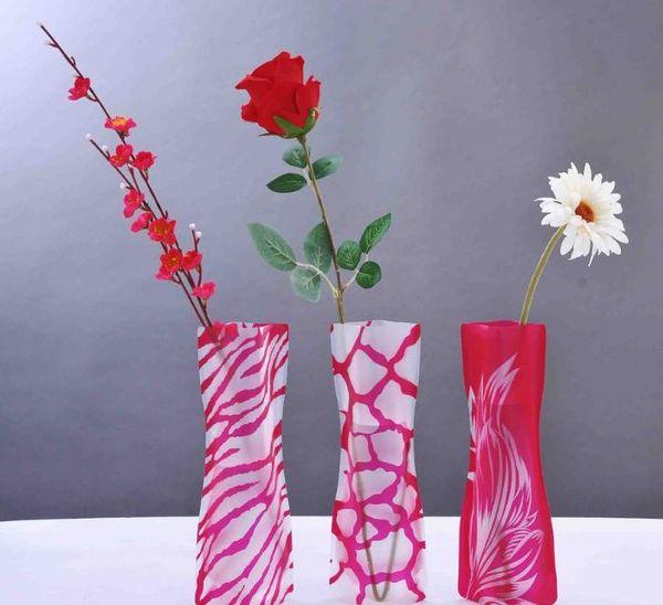 12*27cm Creative Clear Eco-friendly Foldable Folding Flower PVC Vase Unbreakable Reusable Home Wedding Party Decoration SN515