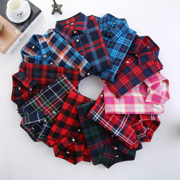 Casual Women's Plaid Shirts ladies Check Blouses long-sleeved Single-breasted Turn Down Collar 3XL Preppy Style Cardigan Spring