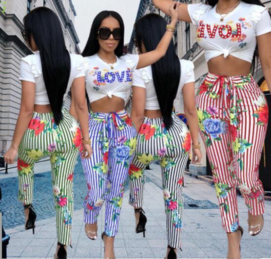 Mode Damen Zweiteiler Sexy Overall Striped Love Print Strampler Lässige sportbekleidung Sommer Jogginganzug Für Frauen