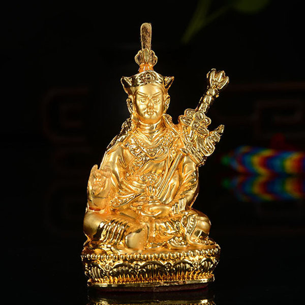 Tibetan Buddhism Supplies Wholesale Gold-plated Tantric Small Buddha Statue of Car Accessories Decoration Lotus Master Buddha Bodhisattva