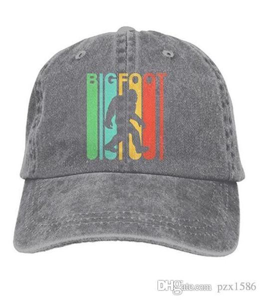 pzx @ casquette de baseball pour hommes et femmes, style rétro Bigfoot Silhouette femmes coton réglable Jeans Cap Hat Multi-couleur en option