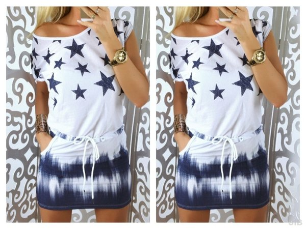 Women Casual Dresses Ladies Short Sleeve Star Print Dress Loose Mini T Shirt Dress Vestido 2colors