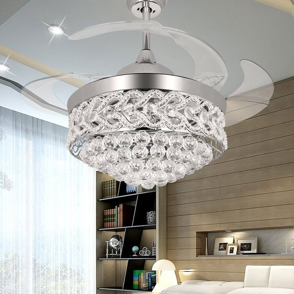 best selling Crystal Ceiling Fan 42 inch Shrinkable Transparent Blades Fan Modern Chandelier Lights With Remote for Indoor Outdoor Living Dining Room