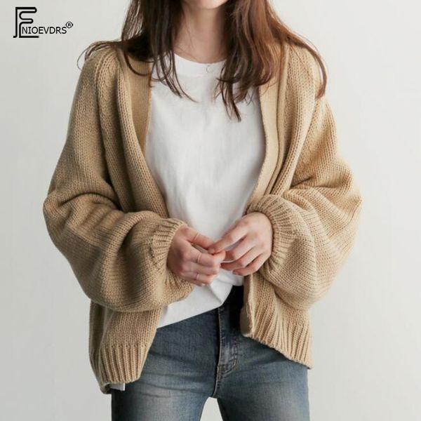 Preppy Style Outfit Women Autumn Winter Outerwear Long Sleeve School Wear Cute Girls Knitted Sweater Open Front Cardigan 7028