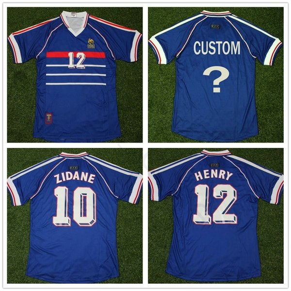 1988 World Cup Classic Vintage France Soccer Jersey 10 ZIDANE 12 HENRY Adult Custom French Home Blue Football Shirt MAILLOT DE FOOT