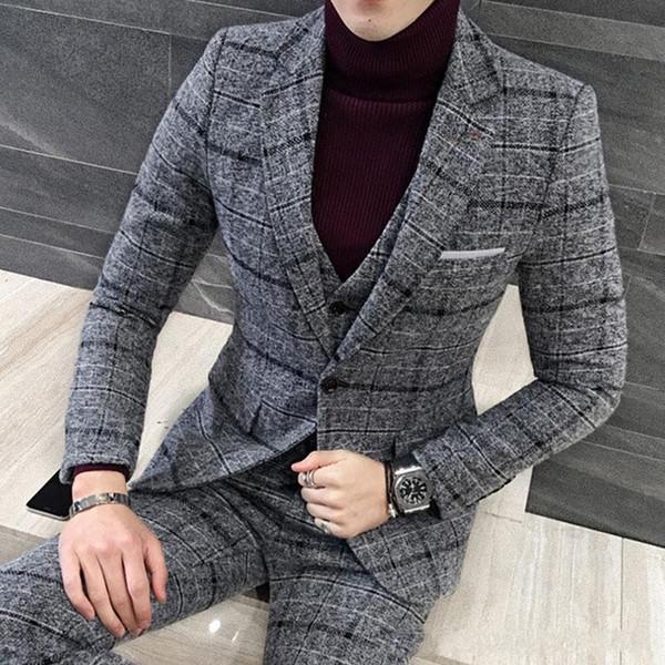 Winter Fashion Grey Plaid Groom Tuxedos Notch Lapel One Button Men Wedding Tuxedos Men Dinner Party Suit(Jacket+Pants+Tie+Vest) 1907