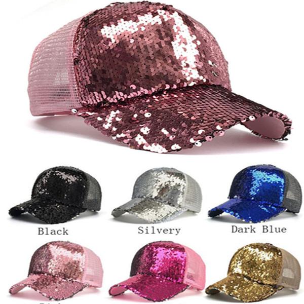 Women Girls Sequins Baseball Hat Color Change Summer Ball Cap Shiny Bling Glitter Ponytail Snapback Trend Fashion Sports New Truck Sunhats