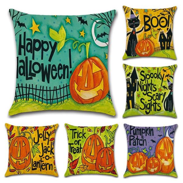 Halloween Cartoon Pumpkin Flax Pillow Case Create Comfort Square Cushion Cover Decorative Throw Pillows Halloween Decoration 5 3kh gg