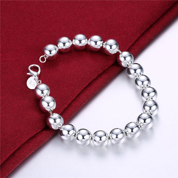 ¡Regalo de boda! 10M Pulsera - Pulsera de plata Hollow925 JSPB136, Hombres y mujeres de regalo de Bestia pulseras de plata chapadas en plata.