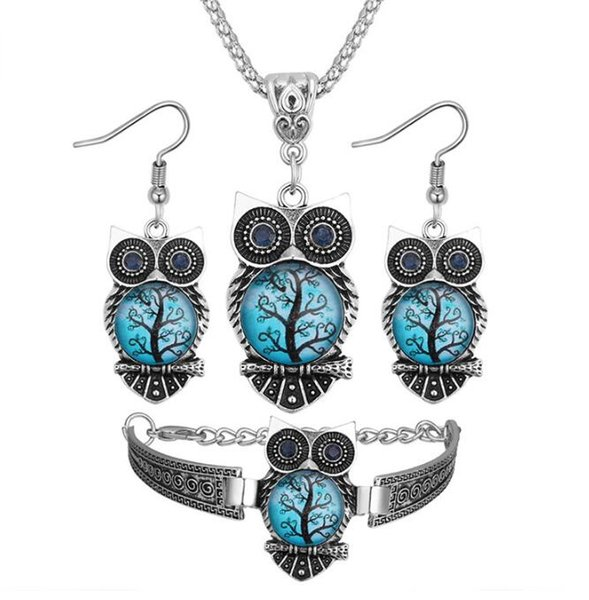 Printing resin Royal blue eye owl necklace Hand catenary Stud earrings Necklace three-piece women Jewelry + Free shipping 154