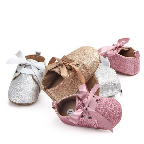 Pudcoco Newborn Baby Girl Soft Sole Sequins Crib Shoes Anti-slip Sneaker First Walkers 0-18M