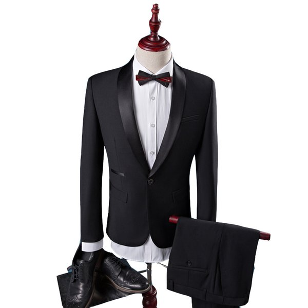 Nero Uomo Abiti Smoking dello sposo Groomsmen Wedding Party Dinner uomo ultimo cappotto pant disegni Best Man Suits (Jacket + Pants)