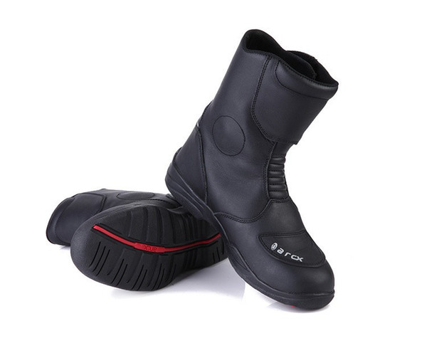 New Men Breathable Wearable Waterproof Outdoor Sports Motorcycle Racing Shoes Motorbike Motocross Moto Boots-Black Color