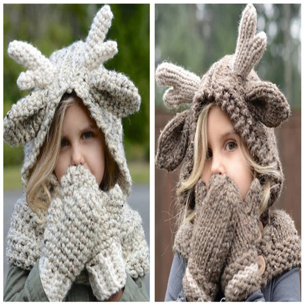 Kids Elk Hooded Hat Scarf Gloves 3 in 1 Set Winter Wool Hat Warm Knitting Caps Elk Crocket Glove Hat for Girls Accessory Christmas Gift Hot