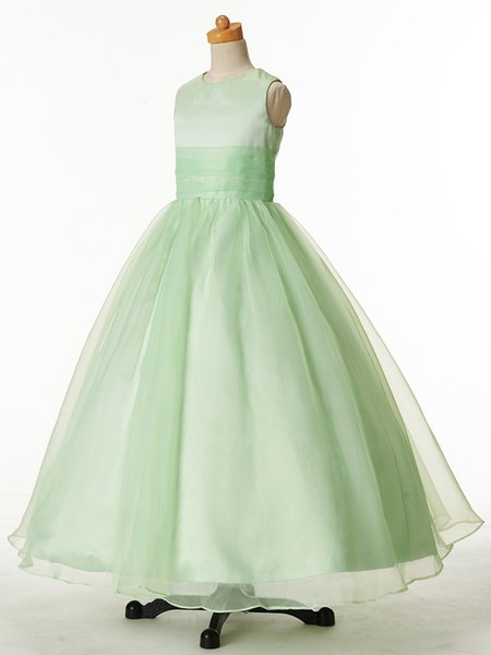 Pretty Green Organza Jewel Flower Girl Dresses Princess Dresses Girl's Pageant Dresses Custom Made Size 2-6 8 10 12 14 KF318174