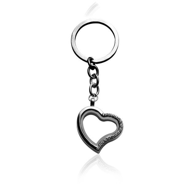 2 Pcs Chic Crystal Keychain Living Glass Memory Locket Charms Floating Charms Buckle Silver Tone Can Open Keyrings Wholesale