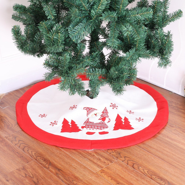 Exquisite High Quality Christmas Tree Skirts Red White Bottom with Embroidery Flannel 90cm Round Tree Skirt for Xmas Decoration