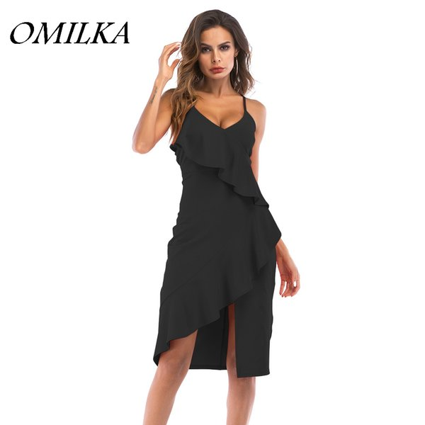 OMILKA 2018 Summer Women Spaghetti Strap V Neck Ruffle Vestito aderente Sexy Black Blue Red Irregular Party Club Vestito longuette