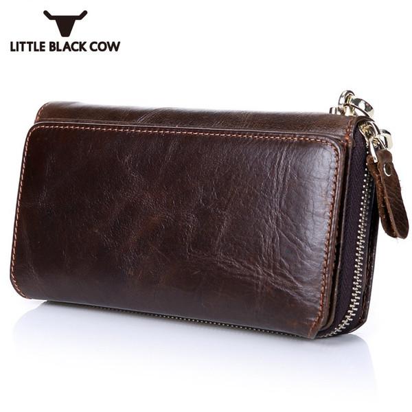 Casual Men Long Zip Wallets Business de alta calidad de cuero titulares de múltiples tarjetas Handy Wallets Money Bags Multifunción Phone Bag