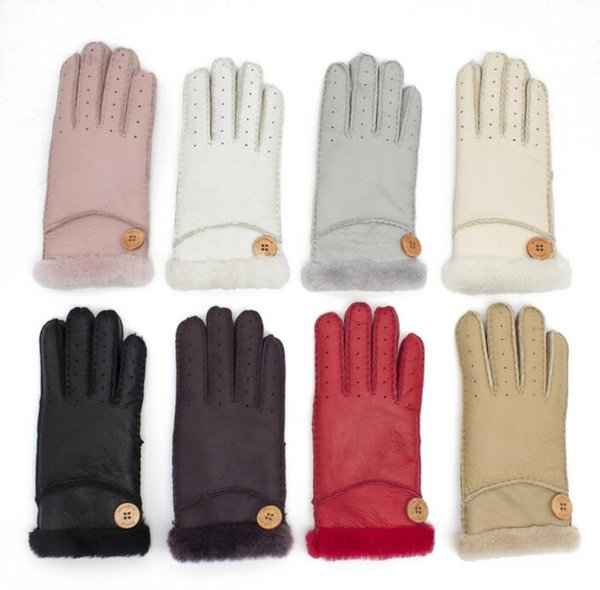 Wholesale - Wool Leather Woman Gloves, Wooden Buckle High Quality Female Gloves, Winter Outdoor Cycling Warm And Windproof Mittens