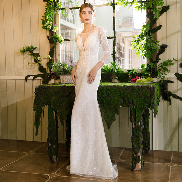 top popular Bateau Neck Lace Mermaid Wedding Dresses with Sequins Beads 2019 Champagne Wedding Gowns Backless Bridal Gown 2019