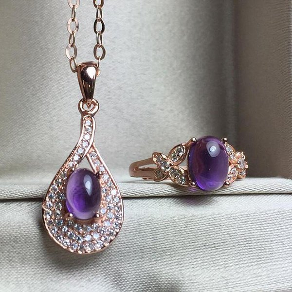 Púrpura Joyas de piedras preciosas naturales Amatista Oro rosa Color de las mujeres de 925 joyas de plata conjunto Anillo de boda / Conjuntos de collar YJS022