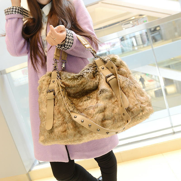 SGARR High Quality Women Faux Fur Handbags New Fashion Ladies Shoulder Bag Casual Female Crossbody Bags Luxury Casual Tote Bags