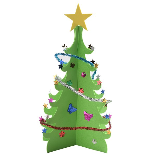 2 Colors 3D Sequins Christmas Tree Creative DIY Merry Christmas Xmas Blessing Table Decoration For New Year Gift