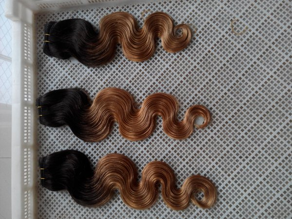 Brazilan Ombre T1/27 Virgin Hair Extensions 10-30 Inches Body Wave Hair Extensions 100% Human Hair Weave