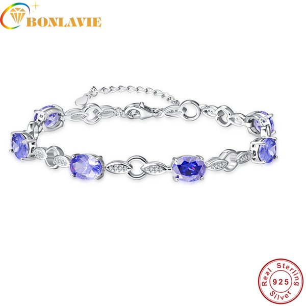 BONLAVI Oval Cut Created Tanzanite leaf shape Bridal Bracelets for Women Wedding Jewelry 925 Silver Bracelets Fashion Accessory