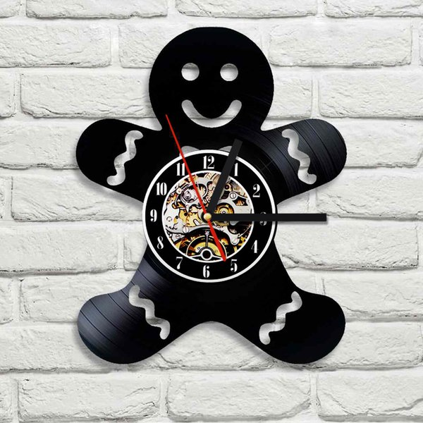 cadeau de bricolage pour changement d'horloge 2018 De Gingerbread Mannen Ontwerp 3D Wandklok Disque Vinyle Creatieve Opknoping Klok Residentiële