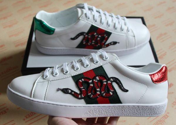 Tamaño grande 35-46 Zapatos de diseñador ACE lujo bordado serpiente blanca zapatos de cuero genuino diseñador zapatilla de deporte para hombre de las mujeres zapatos casuales