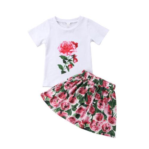 2018 Toddler Kid Baby GirlS Outfits Clothes T-shirt Tops+Floral Dress Skirt 2PCS Sets Kids Clothing Wholesale Boutique Clothes
