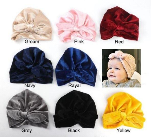Ins Baby hat Infants Pleuche Bunny Bow knot hats Indian Caps Maternity 2018 Fall winter 9 Colors Cheap price Wholesale