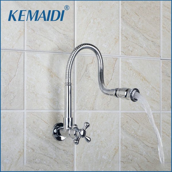 KEMAIDI Kitchen Wall Mount New Brand Hot Sale Shipping All Around Rotate Swivel Chrome Single Cold Faucet Tap RQ8551-3A