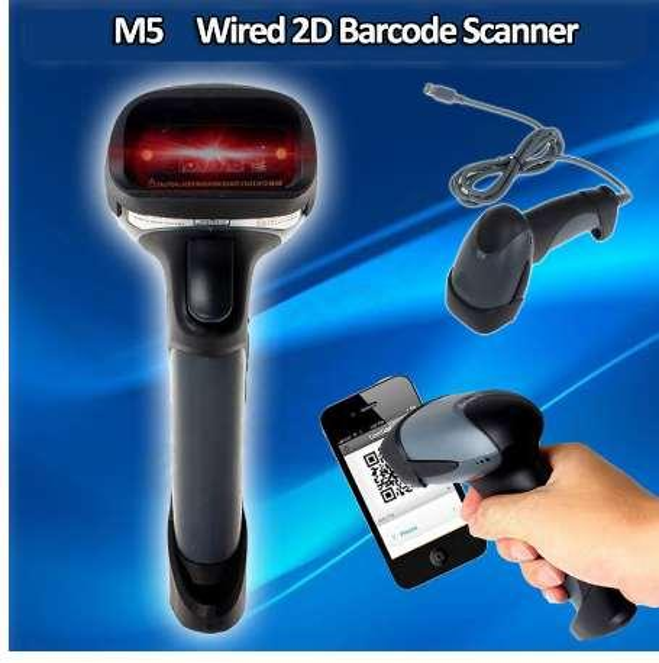 M5 Portable Hand-held 2D Barcode Scanner Wired USB Scanner QR Code PDF417 DataMatrix Laser Bar Code Scanner 2D For Mac OS