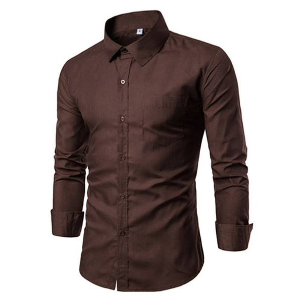 Male Business Casual Blouse Boys Fashion Shirt Dinner Party Clothing Solid Spring Warm Tops Long Sleeve Big Size Men Slim Blusa