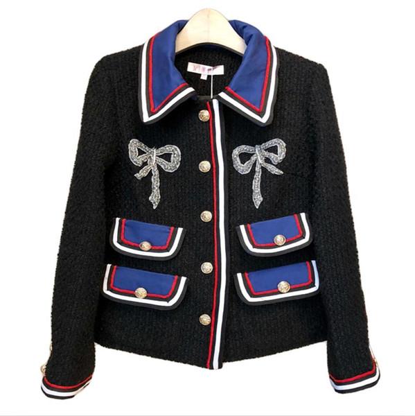 Woolen Coats Women Jackets 2017 Autumn Winter Chaqueta Mujer Patchwork Office Lady Fashion Elegant Long Sleeve Coats L18100706