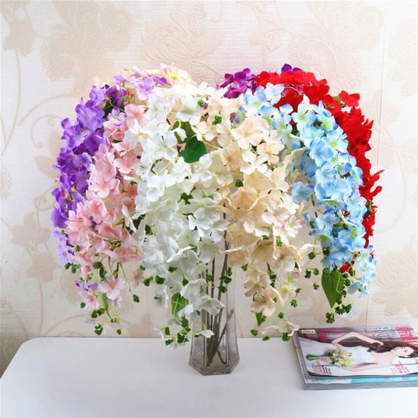 Silk Hydrangea Long Stem Waterfall Hydrangea Simulated Hydrangeas with Foam Fruit for Wedding Centerpieces Decorative 8 Colors