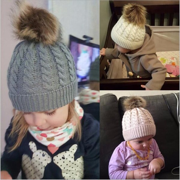 Baby Hats Twist Knitted Caps Kids Pom Poms Beanie Boys Fur Ball Skull Caps Winter Knit Slouchy Crochet Hats Fashion Outdoor Hats B3863