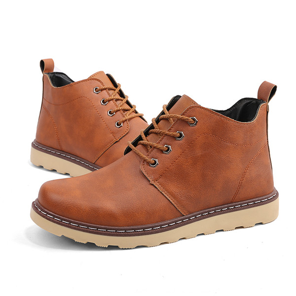Newest Men Classic Martin Boots Leather Snow High Top Sneakers Casual Ankle Boots Work Boots for Men Outdoor Lace-up Shoes Fashion Cowboy