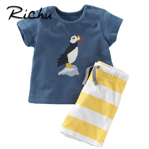 Richu 100% cotton children clothes china kids boys clothes 6 years old summer short clothing sets classic suit for boy toddler child suits